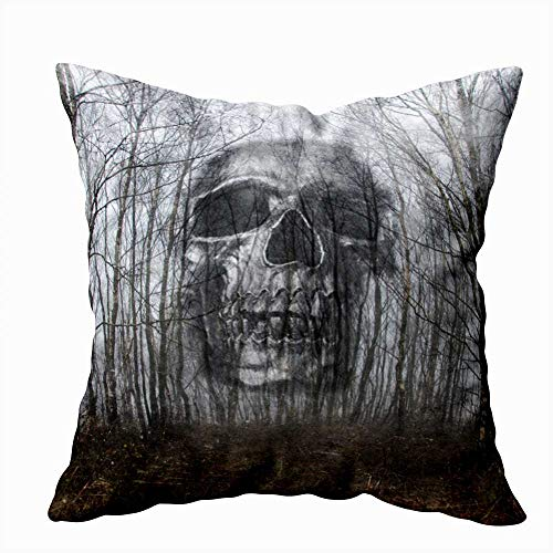 Gesmatic Sofa Pillow Case, Zipper Pillow Cases 18X18 Pillow Cover Spooky Double Exposure of Skull Floating Through The Trees with Textured Standard Pillow Cases Sofa Pillow Covers Art Pillow Case
