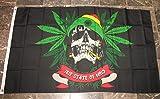 Rasta Skull Marijuana Weed Cannabis Flag 3x5 Blunt Banner