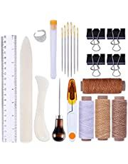 24Pcs Bookbinding Tools Kits, Premium Sewing Tools for Leather, Handmade Books and Paper DIY Bookblind Set, Including Waxed Thread, Awl Large-eye Needles Ect, for DIY Bookbinding Crafts and Sewing Supplies