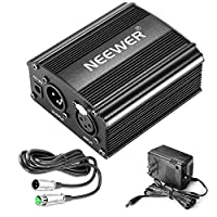 Nueva fuente de alimentación fantasma de 48V de 1 canal con adaptador, cable de micrófono de 3 pines BONUS + XLR para cualquier equipo de grabación de música de micrófono de condensador (8 pies)