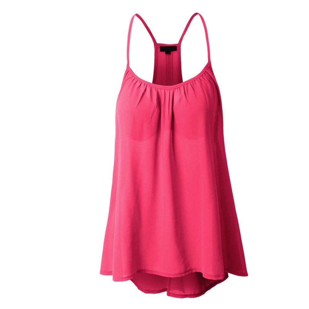 Roemdia Womens Sexy Sleeveless Halterneck Tank Crop Tops Vest Blouse T-Shirt Hot Pink