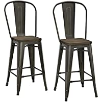 2 Set DHP P Luxor Metal Counter Stool with Wood Seat and Backrest (Copper)