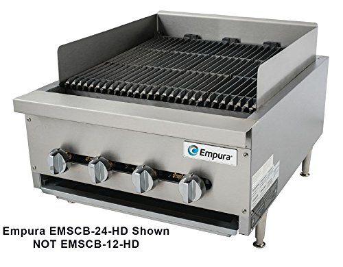 Empura EMSCB12-HD Heavy Duty Stainless Steel 14'' Countertop Charbroiler Gas with 2 Manual Controls Burners, 40,000 BTU by Empura