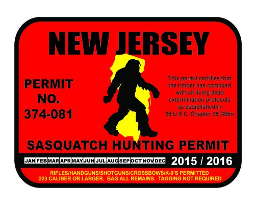 New Jersey Sasquatch Hunting Permit License Bigfoot Vinyl Sticker Decal