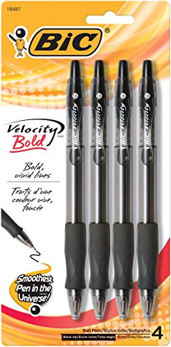 BIC Velocity Bold Retractable Ball Pen, Bold Point (1.6mm), Black, 4-Count