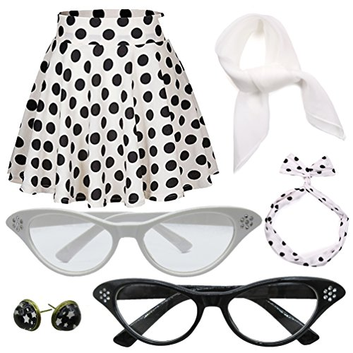 50's Polka Dot Skirt Costume Set With Cat Eye Frame ()
