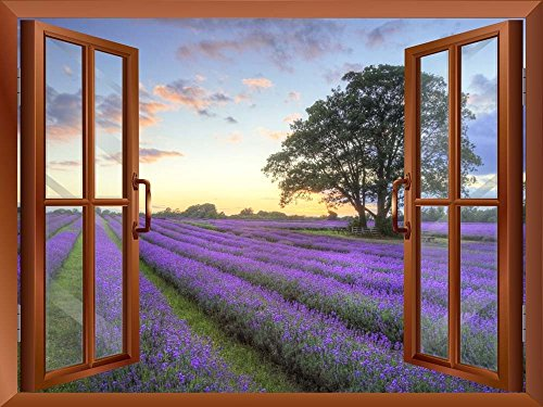 Sunrise on a Purple Filed Removable Wall Sticker Wall Mural