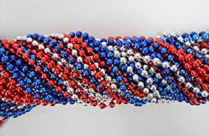33 inch 7mm Round Metallic Red, Blue and Silver Mardi Gras Beads - 6 Dozen (72 necklaces)
