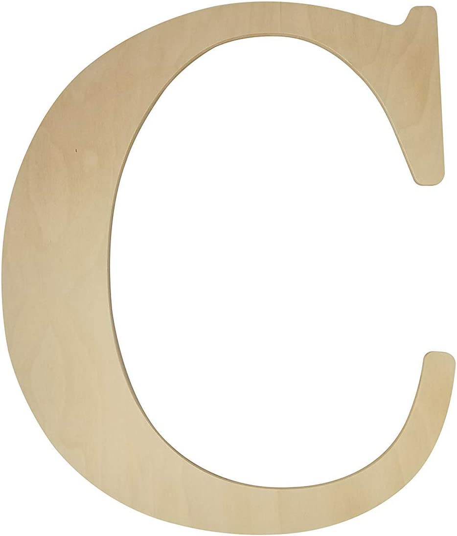 "Unfinished Wooden Letter for Wedding Guestbook or Wall Decor (24"") (Letter C)"
