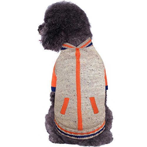- Blueberry Pet 2 Patterns Warm Shepra Fleece Lined Baseball Winter Jacket Style Pullover Dog Sweater in Oatmeal Heather, Back Length 10