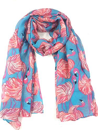 Lina & Lily Flamingo Print Women's Lightweight Long Scarf (Blue)