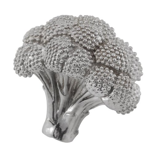 Vicenza Designs K1077 Fiori Broccoli Knob, Large, Polished Silver