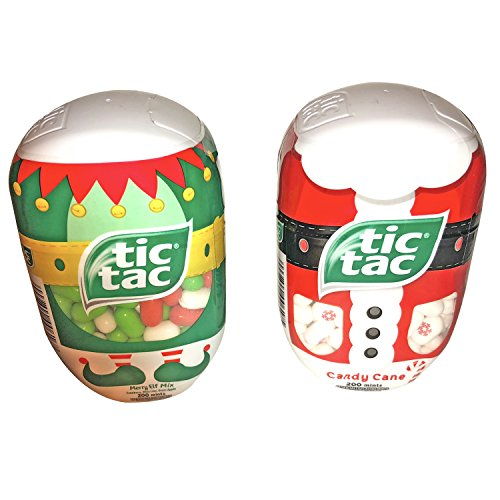 Two Pack Of Holiday Tic Tacs! 200 Mints Per Container! Candy Cane! Merry Elf Mix! Resealable Containers! Yummy Holiday (Merry Treat)