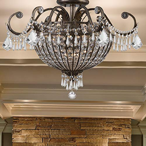 Crystorama 5165-EB-CL-MWP Crystal Accents Six Light Ceiling Mounts from Vanderbilt collection in Bronze/Darkfinish,