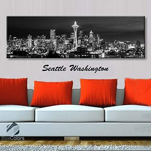 BoxColors - Single panel 3 Size Options Art Canvas Print Seattle Washington City Skyline Panoramic Downtown Night black & white Wall Home Office decor (framed 1.5