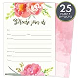 Health & Personal Care : Pink Vintage Floral Set of 25 Fill-in Invitations and Envelopes for Soirees, Bridal Showers, Baby Showers, Birthdays, Graduations, Dinner Parties, Rehearsal Dinners and Bachelorette Parties.