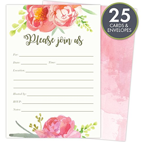 Pink Vintage Floral Set of 25 Fill-in Invitations and Envelopes for Soirees, Bridal Showers, Baby Showers, Birthdays, Graduations, Dinner Parties, Rehearsal Dinners and Bachelorette Parties. Blank Rehearsal Dinner Invitations