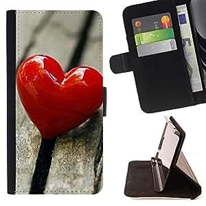 For Samsung Galaxy Core Prime - Love Heart & Wood /Funda de piel cubierta de la carpeta Foilo con cierre magn???¡¯????tico/ - Super Marley Shop -
