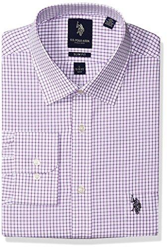 (U.S. Polo Assn. Men's Slim Fit Check Semi Spread Collar Dress Shirt, Graphic Purple/White, 16