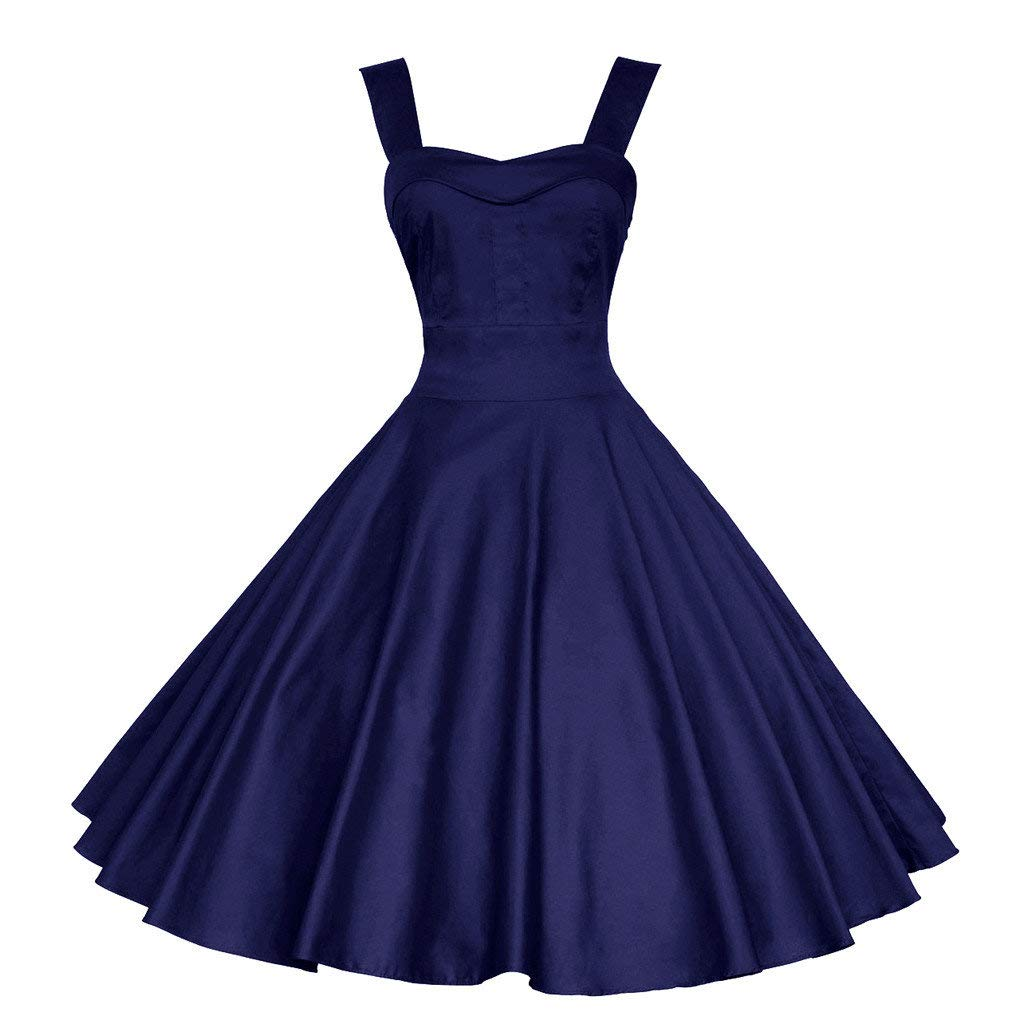 jin&Co Women's Swing Dress Retro Sleeveless Ball Gown Party Prom Dress Cocktail Dress Summer Navy