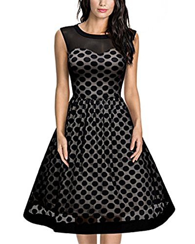 Cute 50s Costumes (Tempt me Women 1950s Vintage Polka Dot Swing Gown Cocktail Dress Black Large)