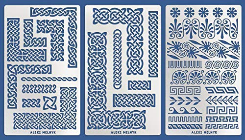 Aleks Melnyk #36 Metal Journal Stencils/Celtic Knot and Greek Ornaments/Stainless Steel Stencils Kit 3 PCS/Templates Tool for Wood Burning, Pyrography and - Celtic Metal Knot