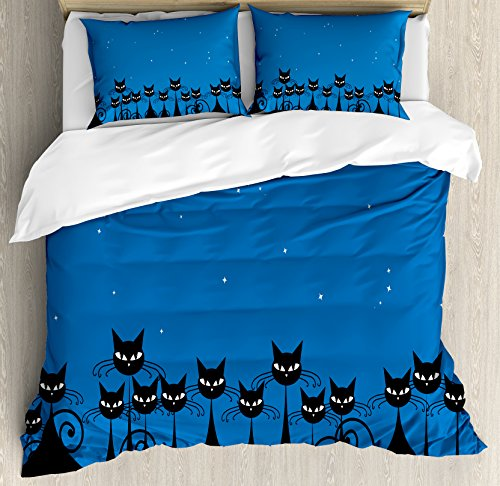 Ambesonne Night Duvet Cover Set Queen Size, Artistic Graphic Crowd Stylized Black Cats Starry Sky on The Backdrop Theme Style Artwork, A Decorative 3 Piece Bedding Set 2 Pillow Shams, Blue Black White