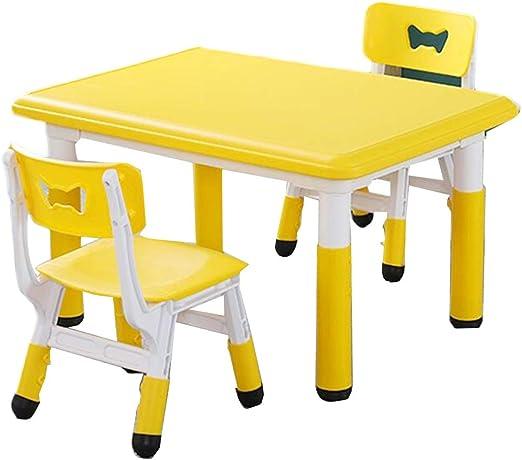 LIANGJUN Juegos De Mesa Y Sillas for Niños Taburete De Mesa for Niños Niños Escritorio Aprendizaje Dibujo Actividad 5 Colores, 1 Mesa Artesanal, 2 Sillas for Niños (Color : Yellow, Size : C): Amazon.es: Hogar