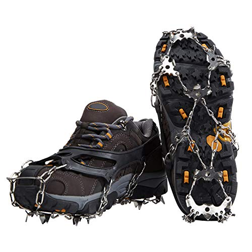 Geniff Crampons Ice Snow Cleats for Shoes and Boots with 19 Spikes Stainless Steel for Walking Jogging Climbing and Hiking