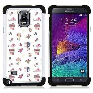 """Hypernova Híbrido Heavy Duty armadura cubierta silicona prueba golpes Funda caso resistente Para Samsung Galaxy Note 4 IV / SM-N910 [Papel regalo Modelo blanco lindo del dibujo""""]"""