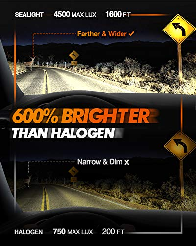 SEALIGHT X2 H4/9003/HB2 Brightest LED Headlight Bulbs,100W 600% Super Brighter LED Headlights Conversion Kit Hi/Lo Beam Head Lamp 6000K Cool White IP67 Rated,Pack of 2