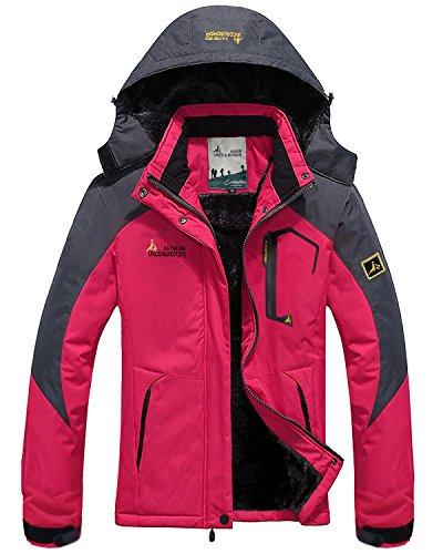 CIOR Women Snow Jacket Windproof Waterproof Ski Jackets Winter Hooded Mountain Fleece Outwear,CCFY02-Rose Red-XS (Snowboarding Ski Jacket)