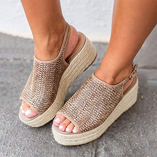 Roman Yard Light - XLBHSH Womens Ladies mid Wedge Heel Beads Elastic Slingback Sandals Large Yard Wedge with Light Bottom Hemp Woven Breathable Fish Mouth Sandals Women's Sandals,01,40