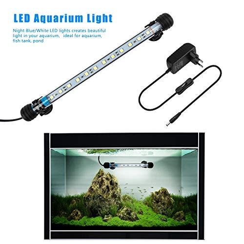 FTALGS LED Aquarium-Licht Unterwasser BeleuchtungAufsatzleuchte Abdeckung Wasserdicht Lampe Stecker EU für Fisch Tank mit