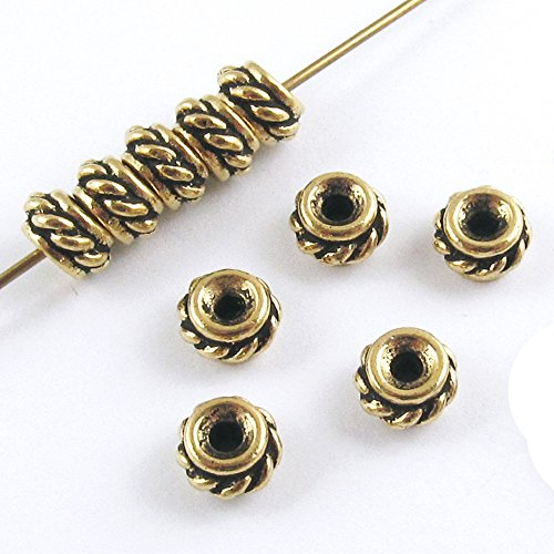 TierraCast Pewter Beads-GOLD TWISTED SPACER 6mm (10)