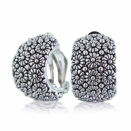 Craved Sunflower Flower Wide Half Hoop Clip On Earrings For Women Non Pierced Ears Oxidized Sliver Tone Plated ()