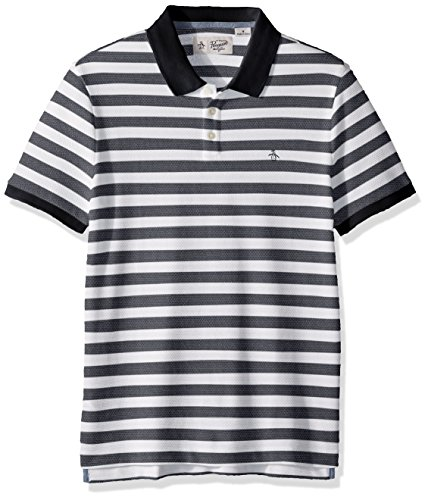 Original Penguin Men's Short Sleeve Pointelle Stripe Polo, Dark Sapphire, Medium by Original Penguin