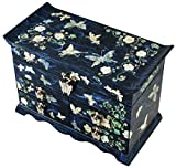 Mother of Pearl Butterfly Design Jewelry Box Display with 4 Drawers Nacre Jewellry Case 4 Colors (Blue)