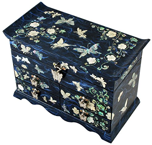 Mother of Pearl Butterfly Design Jewelry Box Display with 4 Drawers Nacre Jewellry Case 4 Colors (Blue) by JMcore High Quality Jewelry Box