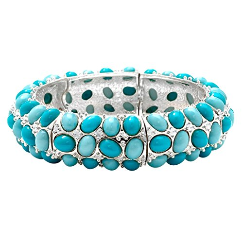 Oval Simulated Turquoise Silvertone Cabochon Stretch Bracelet 9