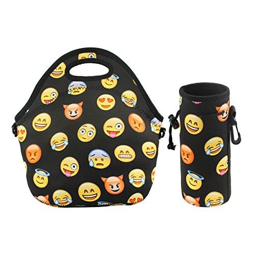 Mist Bag (Violet Mist Neoprene Lunch Tote Bag Set Insulated Reusable Waterproof |Lunch Bag+ Bottle Holder+Shoulder Strap| School Picnic Lunchbox Container Organizer For Men, Women, Adults, Kids (Emoji Set))