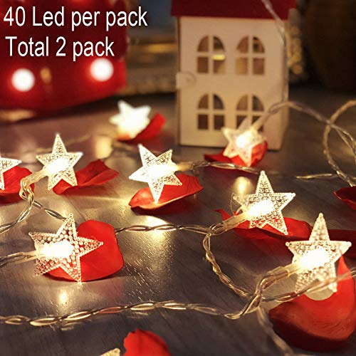 Twinkle Star 40 LED 14 FT Star String Lights Battery Operated, Fairy String Light for Home, Party, Christmas, Wedding, New Year, Garden Decoration (2 Pack, Warm White)