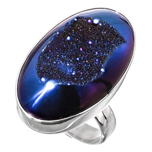 Oval Cobalt Blue Titanium Druzy 925 Sterling Silver Adjustable Ring, US 6
