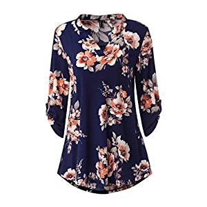 Zattcas Womens Floral Printed Tunic Shirts 3/4 Roll Sleeve Notch Neck Tunic Top (XX-Large, Navy Orange Printed)