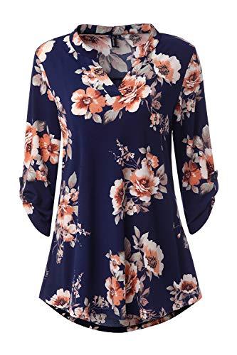 Zattcas Womens Floral Printed Tunic Shirts 3/4 Roll Sleeve Notch Neck Tunic Top (XX-Large, Navy Orange ()