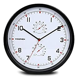 WOOPHEN 12 Inch Silent Non Ticking Wall Clock with Temperature&Humidity(Black)