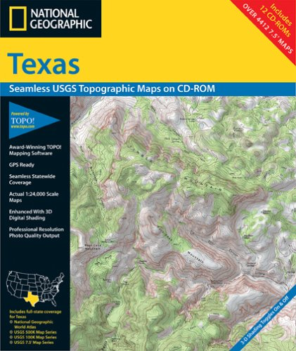 National Geographic TOPO! Texas Map CD-ROM (Windows)