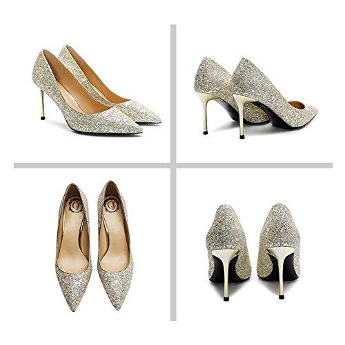 5 Chaussures EU39 Chaussures De 6cm De taille Saison Mariée UK6 Haute Pointu CN40 Printemps Or Couleur MUMA Talons 2018 Cristal Escarpin Sexy Mariage 10cm zO81xH