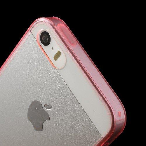 Case Étui Coque Housse pour iPhone SE 5S 5 iMercado (TPU, Transparent, Contour Rose)