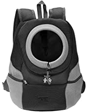 "Mangostyle Pet Carrier Backpack Dog Travel Bag Pet front Carrier Bag Mesh Backpack Head out Carrier Double Shouder Bags for Small Dogs (Extra large(8.6""-14.9""W17.8""H,less than 16.5lbs), Black)"